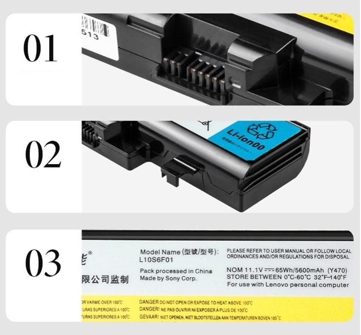 Green giant (llano) Lenovo laptop battery IdeaPad Y470 Y471 Y570 Y570G Y470A L10S6F01 battery high capacity 6 core 5600mAh