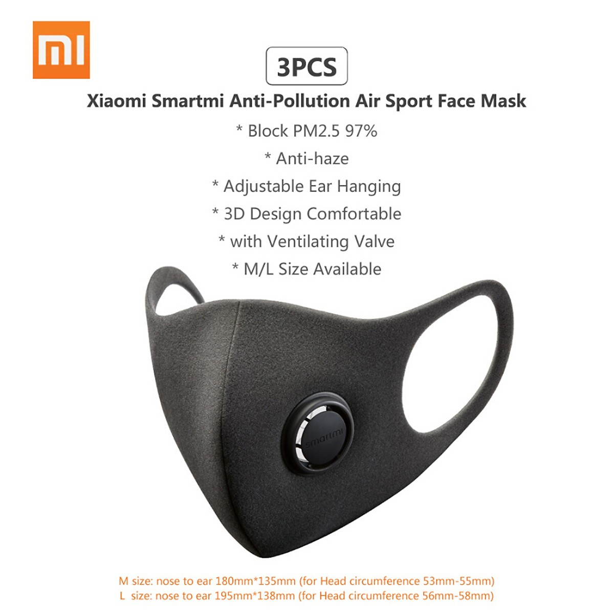 3PCS Xiaomi Smartmi Anti-Pollution Air Sport Face Mask Respirators Block PM2.5 Haze Anti-haze Adjustable Ear Hanging 3D Design Com