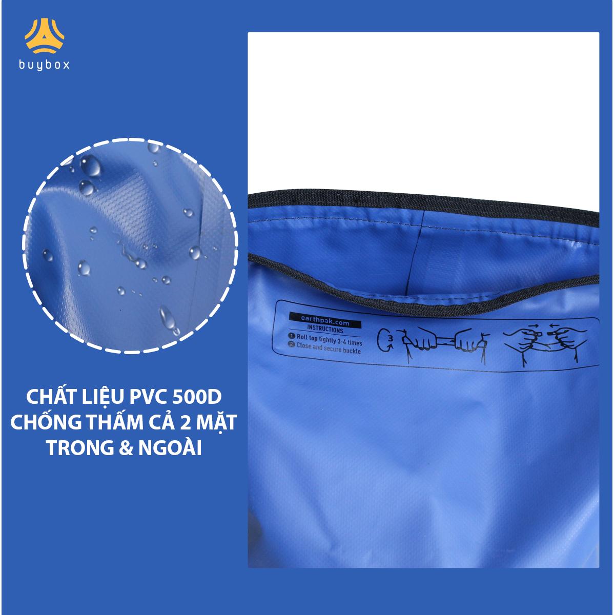 Mặt trong và ngoài của Balo chống nước đi phượt chất liệu 500D PVC sản xuất tại Việt Nam - 10L, 20L, 30L, 40L, 55L - buybox - BBPK161