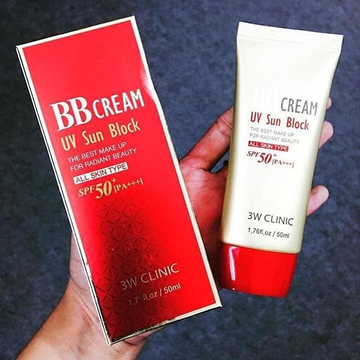 Kem nền chống nắng và dưỡng ẩm BB Cream UV Sun Block 3W Clinic SPF 50+ PA+++ 50ml - Hàn Quốc Chính Hãng 1