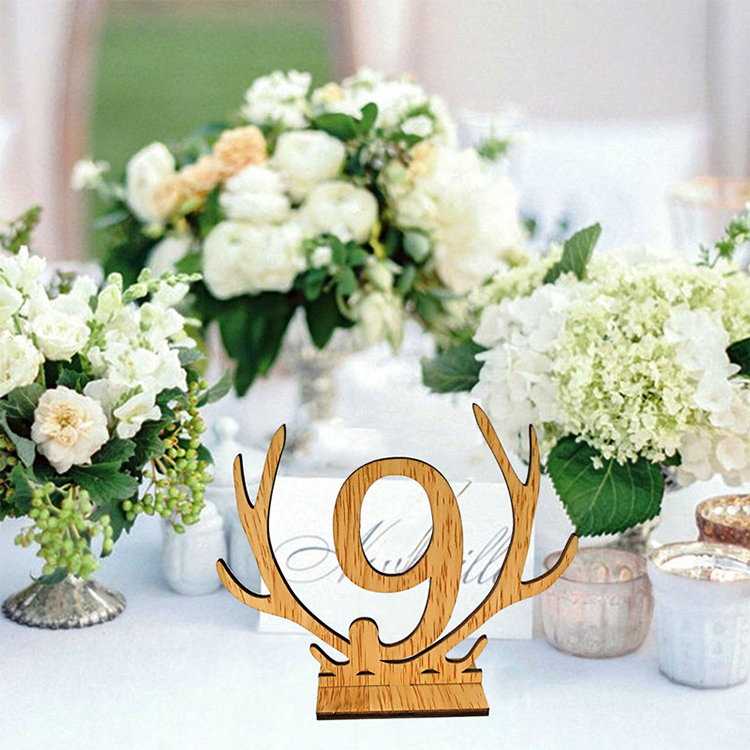 Seat Card Table Number Card Creative Antler Shape 1-20 Wedding Event Tables