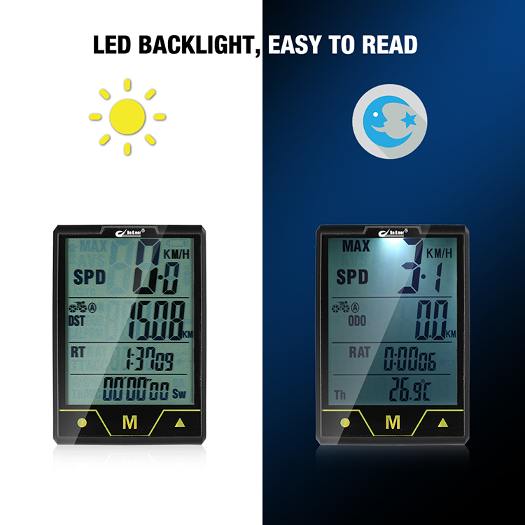 BOGEER Bike Computer Wireless -  Wired Bicycle Speedometer Odometer Temperature Backlight Water Resistant for Cycling