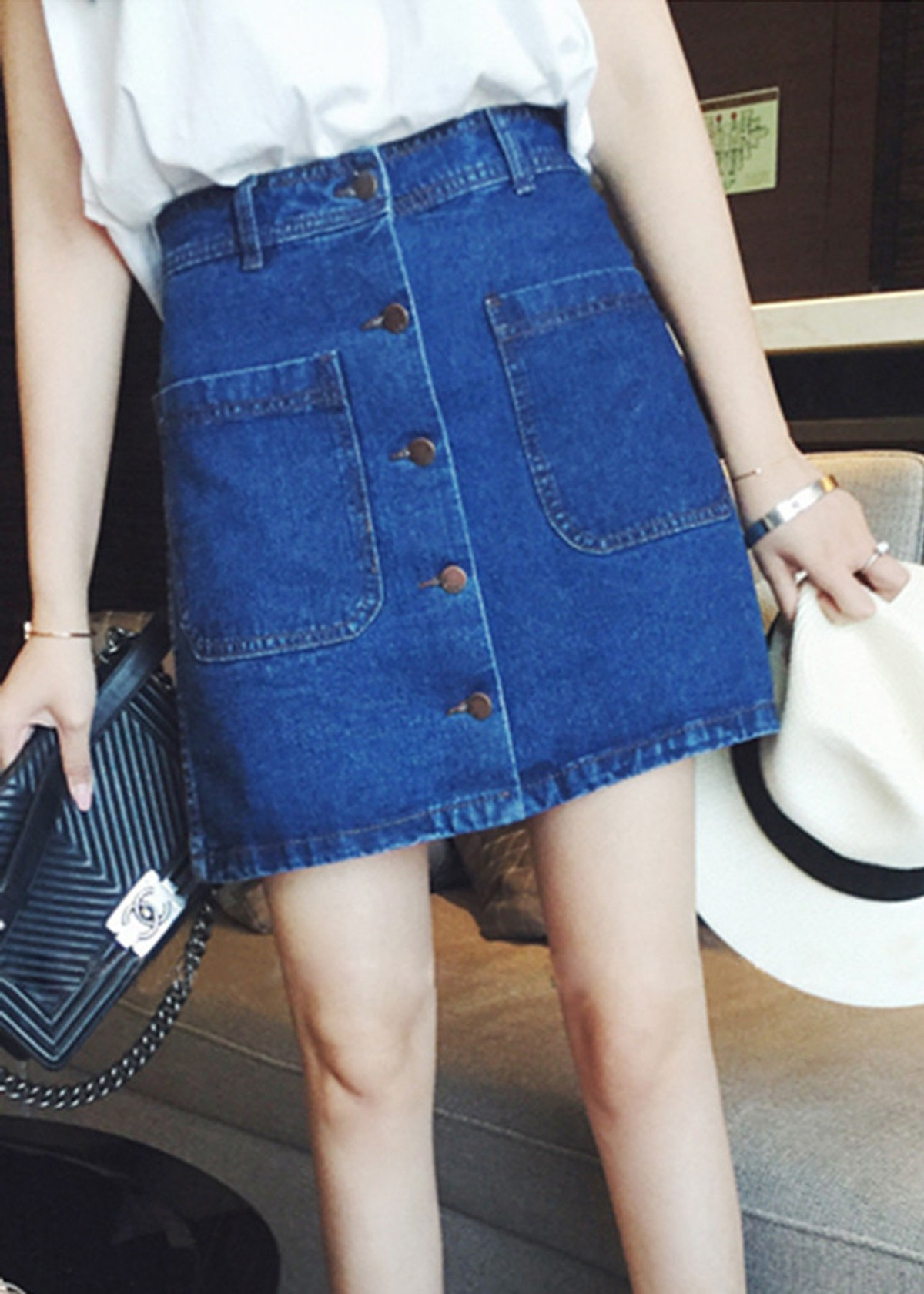 Chân váy chữ A LAHstore, chất liệu vải jeans thô bền bỉ, phong cách Hàn Quốc, thời trang trẻ 2