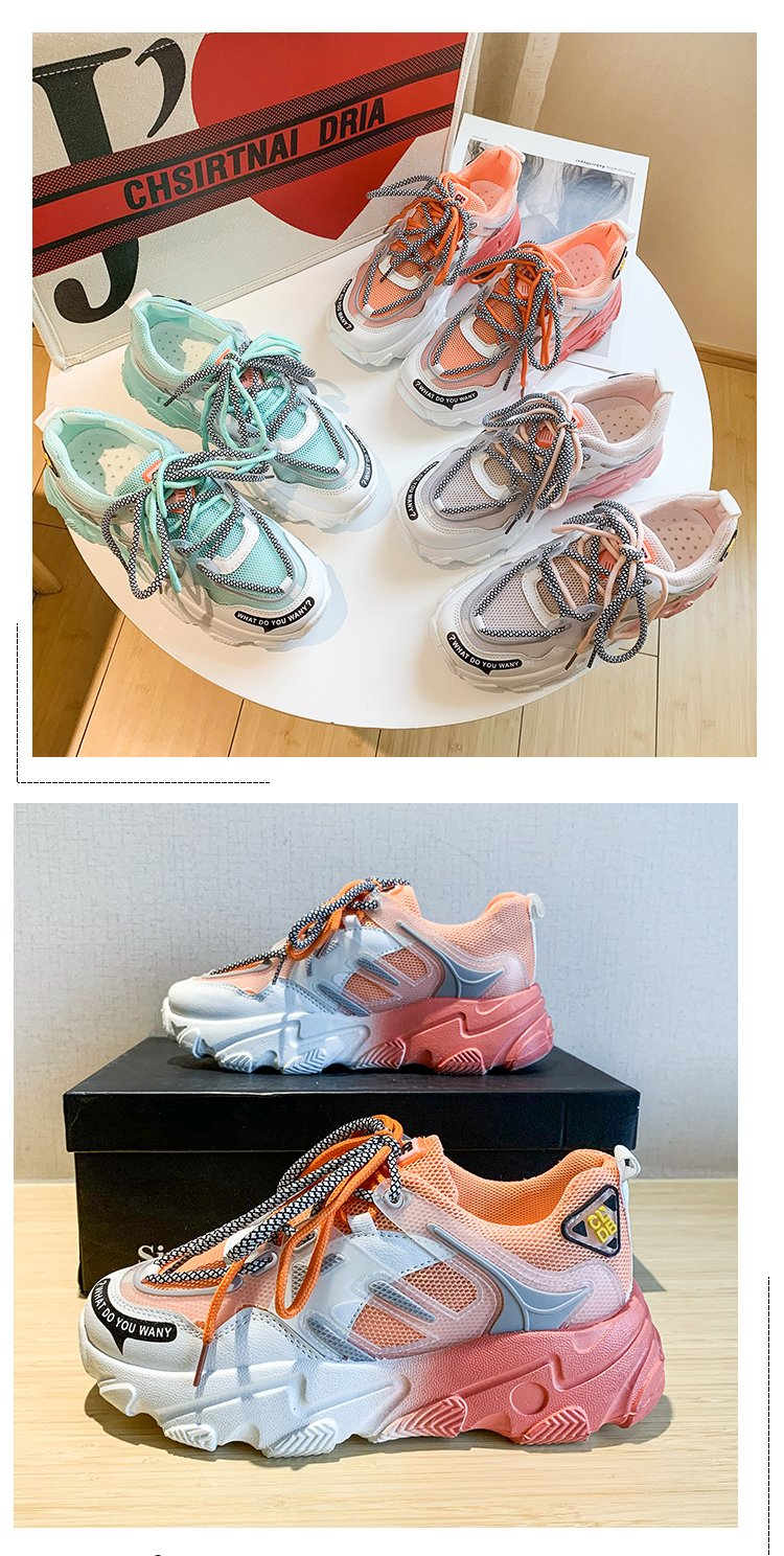 Giày thể thao nữ, giày sneaker nữ lưới đế 3 màu thời trang Hàn Quốc 6