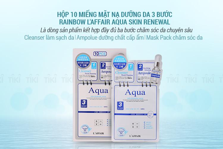 Hộp 10 Miếng Mặt Nạ Dưỡng Da 3 Bước Rainbow L'Affair Aqua Skin Renewal