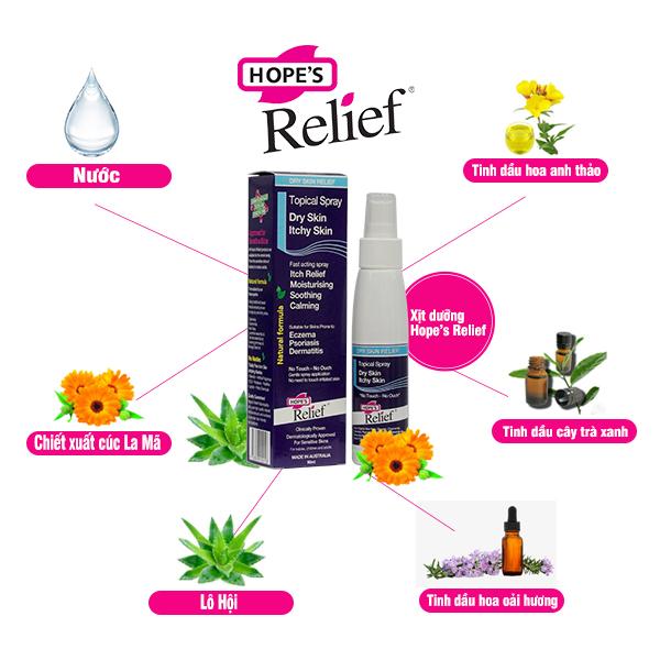 Xịt dưỡng da Hope's Relief cho da eczema, vẩy nến, viêm da 90ml/chai