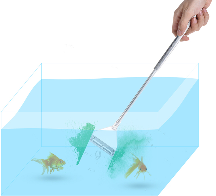 Glass Aquarium Algae Scraper Fish Tank Cleaner Cleaning Tool Adjustable Size with Alternative Blade - Silver