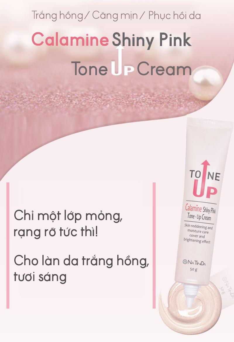 Kem nâng tông dưỡng da trắng hồng rạng rỡ - Natinda Calamine Shiny Pink Tone-Up Cream - 50g 3