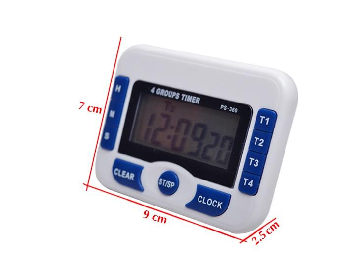 Đồng hồ đếm ngược 4 kênh, dùng pin cúc áo tặng kèm đèn 4 led dán tường , dán ô tô 4