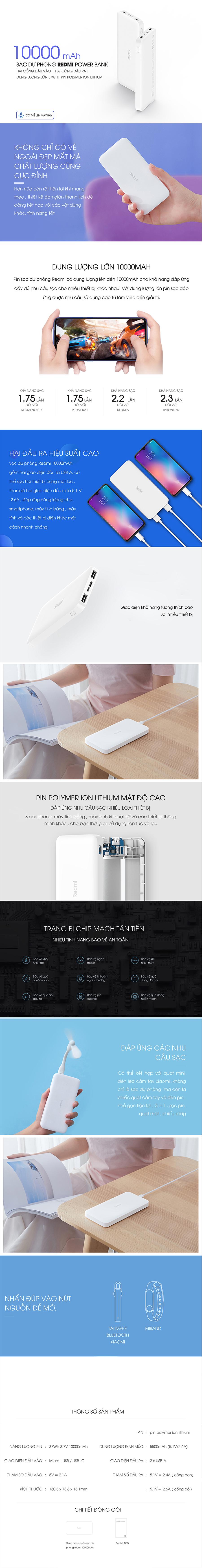 Pin Sạc Dự Phòng Xiaomi Redmi 10000mAh PB100LMZ - Hàng Chính Hãng