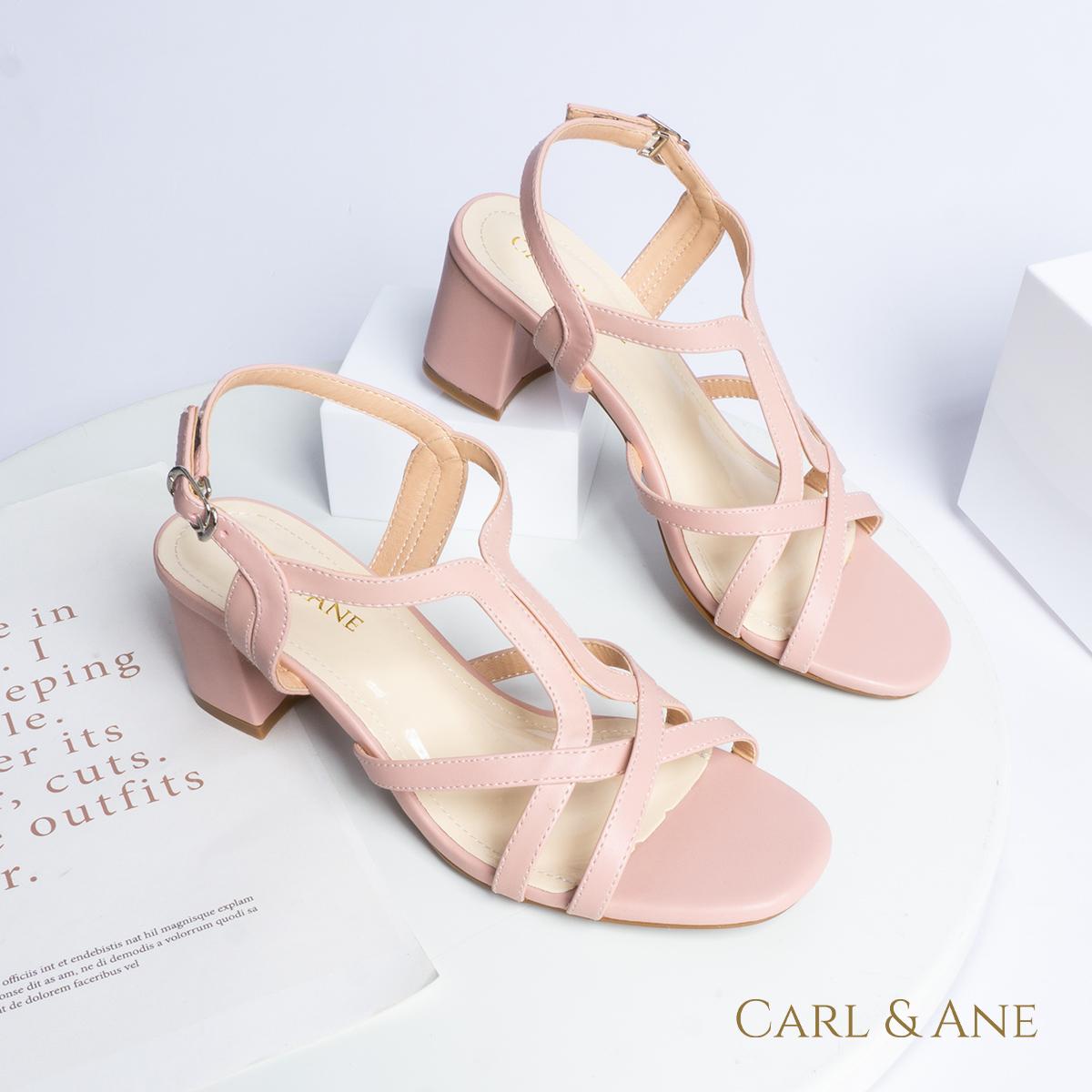 Gia y sandal phô i dây thời trang Erosska mu i vuông gót cao 5cm CS002 5
