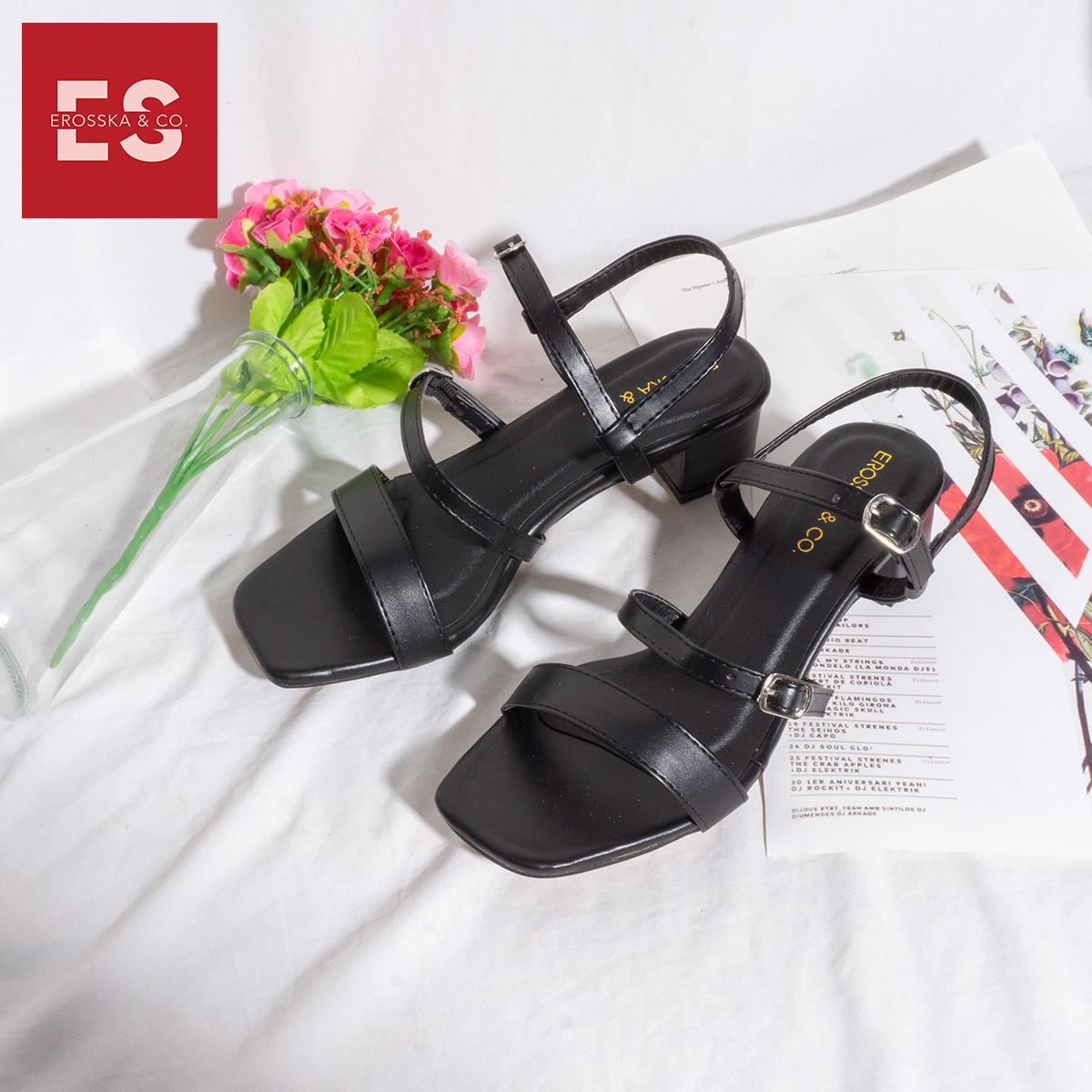 Gia y sandal cao gót Erosska thơ i trang mũi vuông phô i dây quai ma nh cao 3cm EB018 6