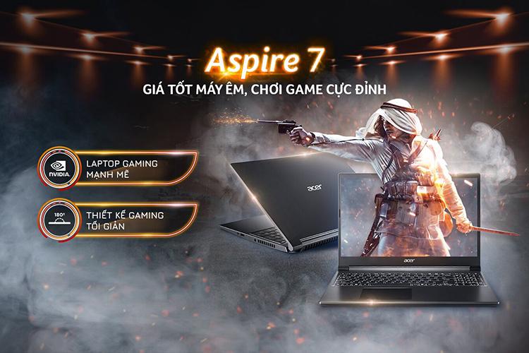 Laptop Acer Aspire 7 A715-41G-R282 NH.Q8SSV.005 (AMD Ryzen 5 3550H/ 8GB DDR4 2400MHz/ 512GB PCIe NVMe/ GTX 1650Ti 4GB GDDR6/ 15.6 FHD IPS/ Win10) - Hàng Chính Hãng