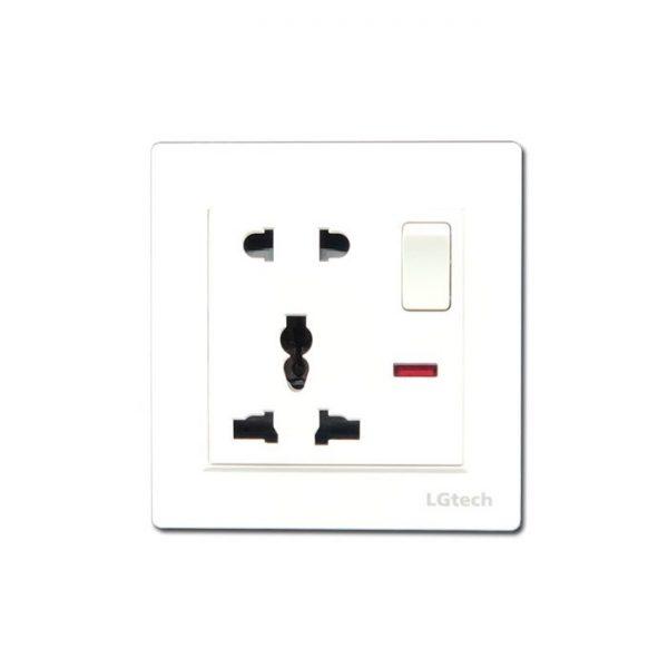 Ổ cắm điện đơn đa chuẩn có công tắc an toàn kèm đế âm đơn vuông cao cấp   LG-BS2P1S-01WP - Hàng Chính Hãng