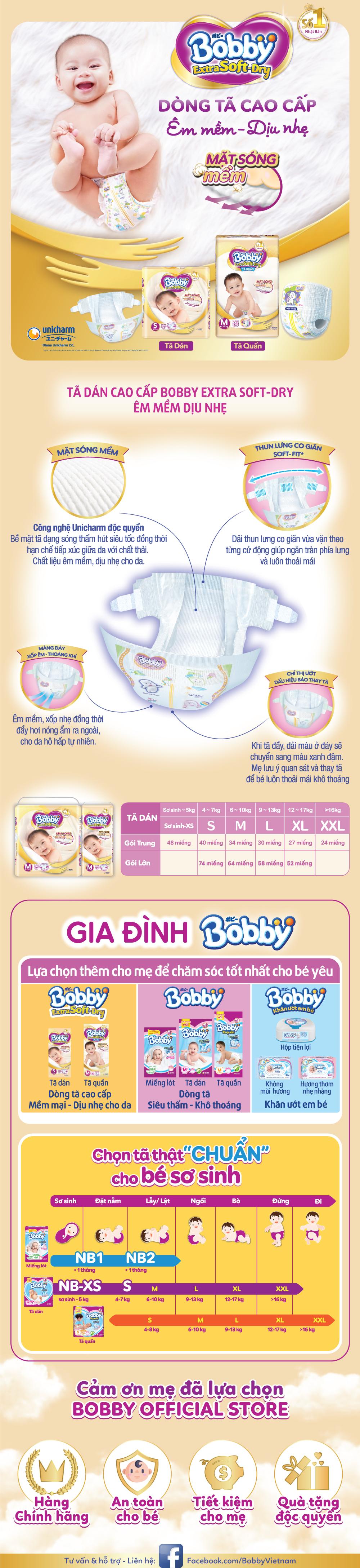 Tã Dán Siêu Mềm Bobby Extra Soft Dry Gói Lớn M34 (34 Miếng)