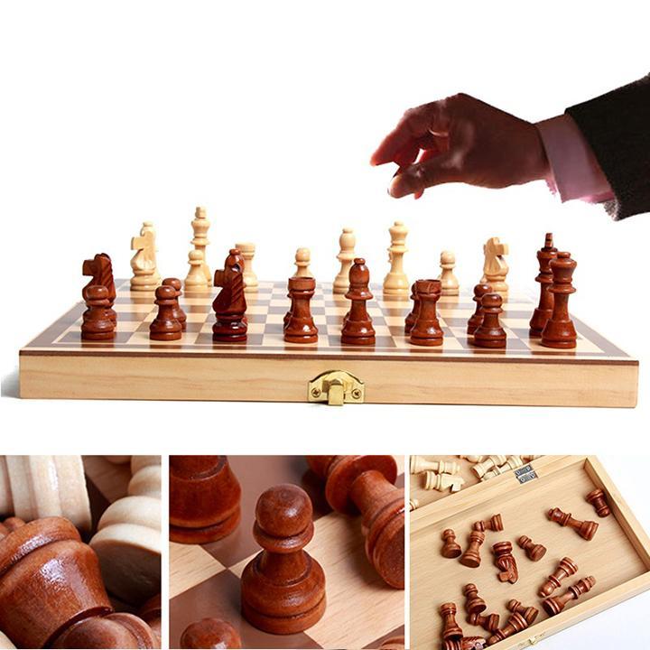 Bộ cờ vua cao cấp, đồ chơi làm bằng gỗ tự nhiên không độc hại dành cho trẻ em, môn thể thao phát triển trí tuệ - Tặng Kèm Móc Khóa 4Tech. 4