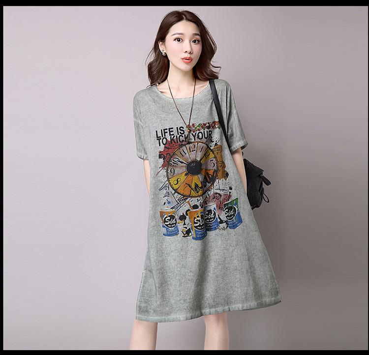 Đầm suông dạo phố chất thô họa tiết LAHstore, chất liệu vải bông mềm họa tiết độc dạo, thời trang Hàn Quốc - Xanh xám - XXL 8