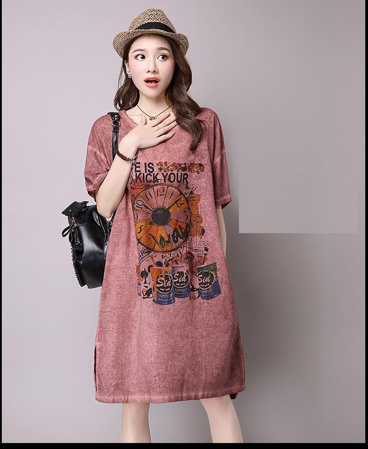 Đầm suông dạo phố chất thô họa tiết LAHstore, chất liệu vải bông mềm họa tiết độc dạo, thời trang Hàn Quốc - Xanh xám - XXL 5