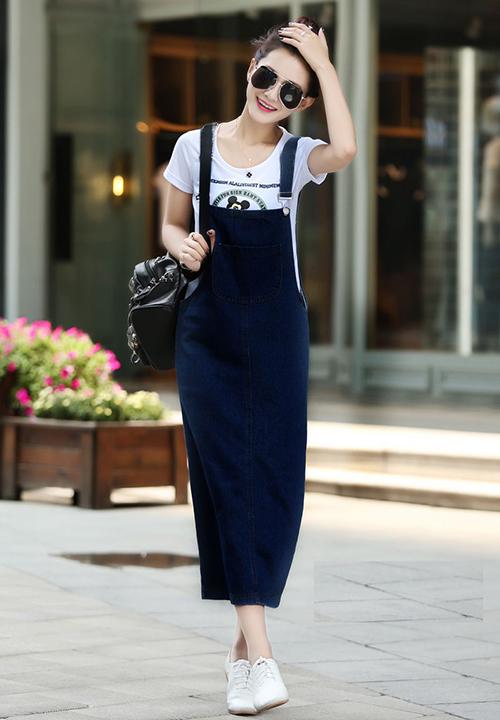 Đầm Yếm Jean Thun Dài Phối Túi 1