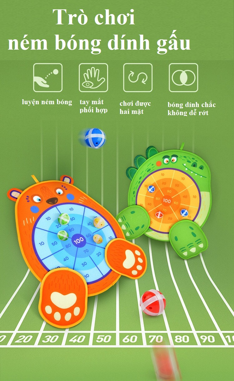 Trò Chơi Ném Bóng Dính Gấu chính hãng Mideer fun dart game BEAR 5