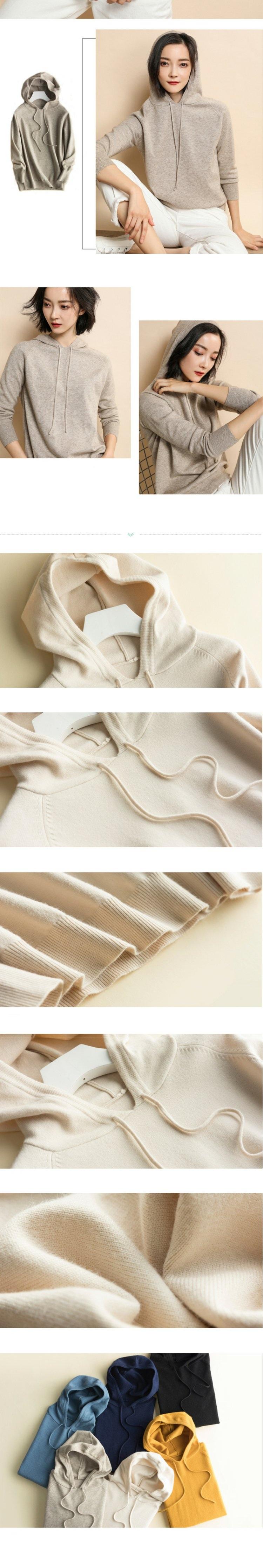 Áo hoodie len nữ LAHstore, chất len mêm mịn ấm áp, thời trang trẻ, phong cách Hàn Quốc 5