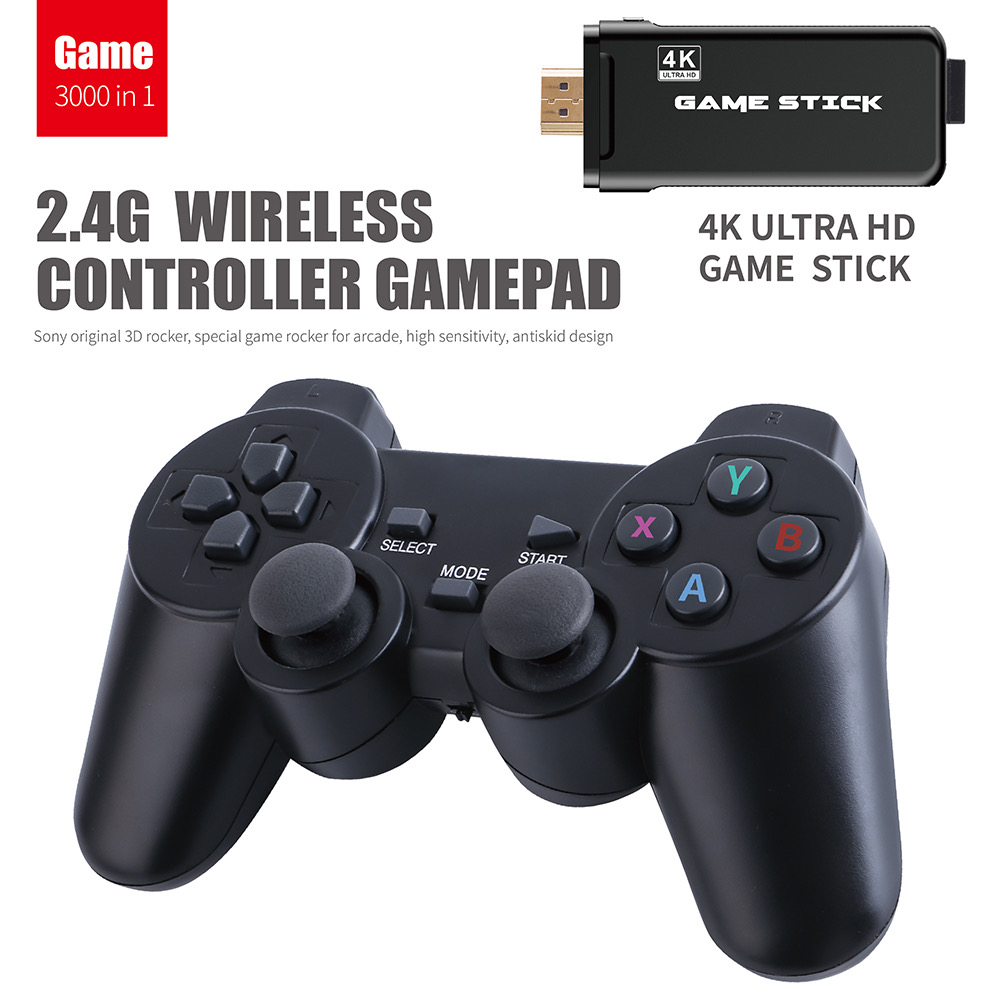 Máy chơi game điện tử 4 nút tay cầm không dây GAME STICK 4K ULTRA_HD  Joystick 360 - 2 người chơi - kết nối TV 4K - Thẻ SD 32G +3000 games -