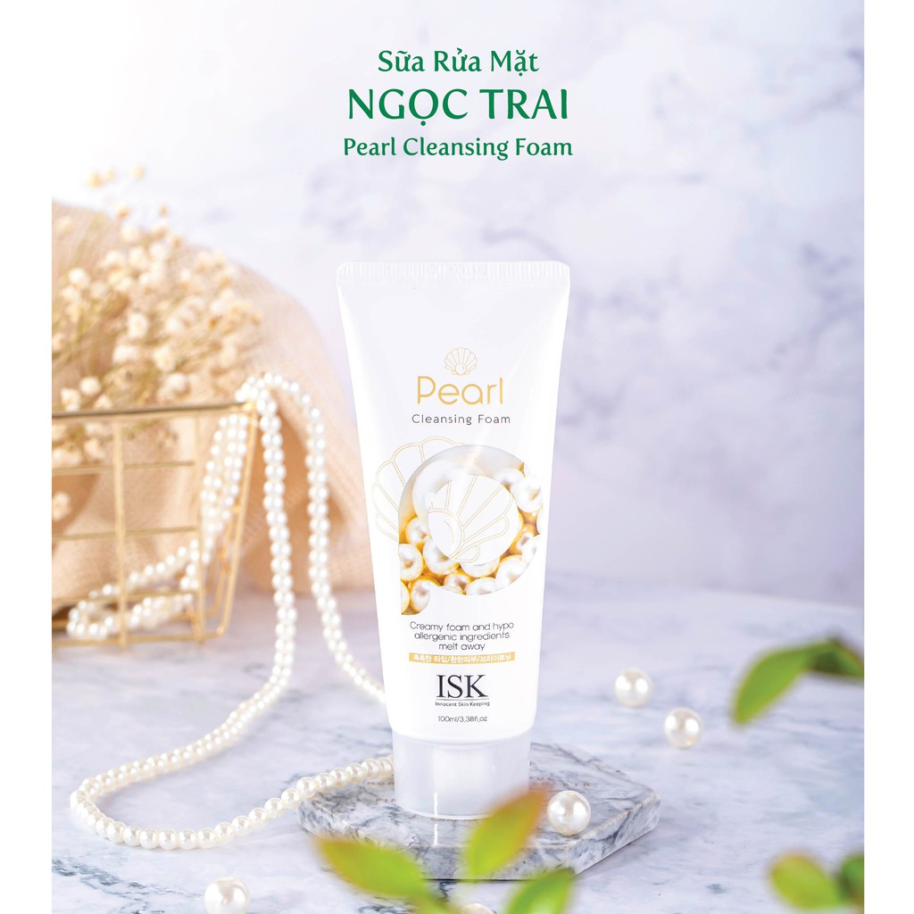 Sữa rửa mặt trắng da sạch nhờn ngọc trai ISK PEARL Hàn quốc 100ml Hộp Kèm 1 nơ xinh 5