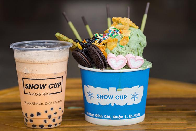 Combo Kem Tuyết Singapore Size BigMax + Trà Sữa Tự Chọn Mát Lạnh, Hấp Dẫn Tại Snow Cup