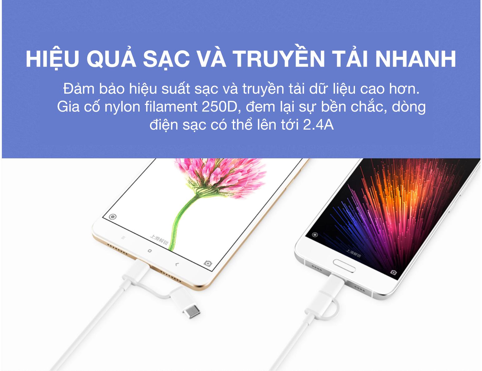 Dây Cáp Sạc Đa Năng 2 Trong 1 USB Type-C / Micro USB Xiaomi SJV4082TY (1m) - Hàng Chính Hãng