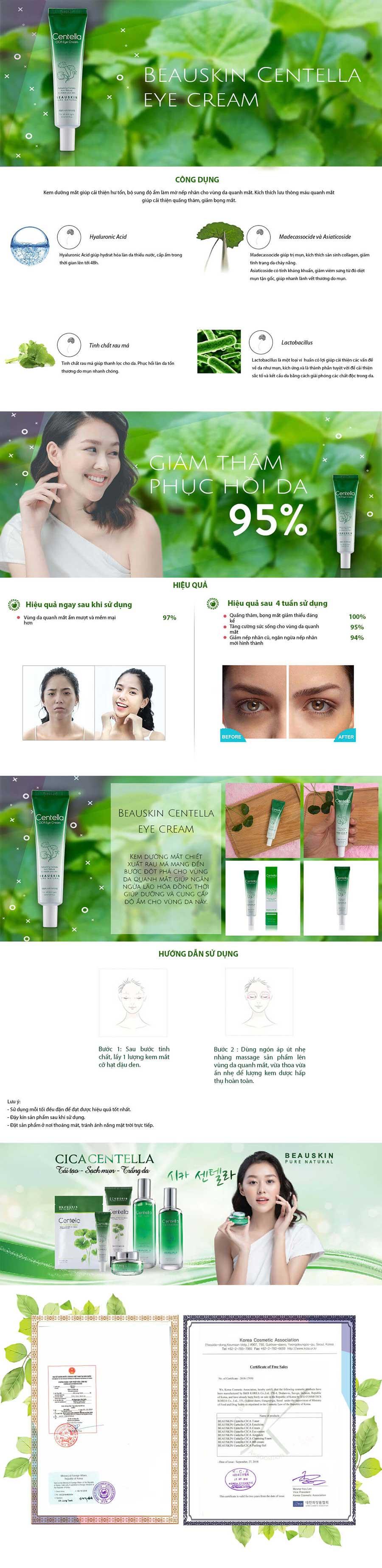 Kem Dưỡng da vùng mắt Beauskin Centella Cica Eye Cream 30ml