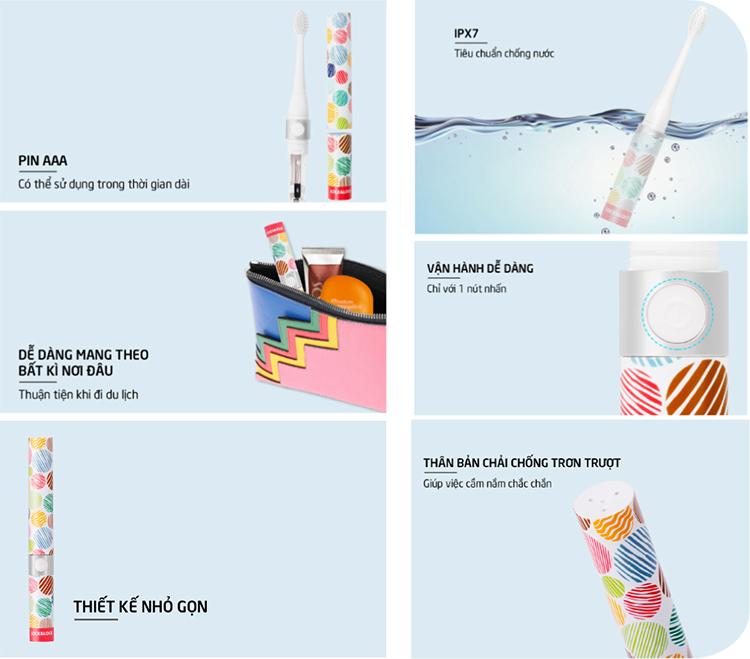 Bàn Chải Đánh Răng Điện Lock&Lock Portable Electric Toothbrush ENR236 (162 x 20 x 20 mm)