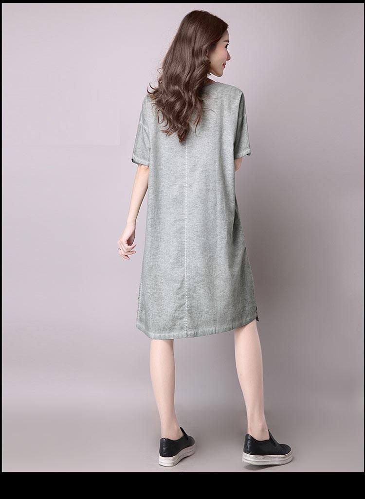 Đầm suông dạo phố chất thô họa tiết LAHstore, chất liệu vải bông mềm họa tiết độc dạo, thời trang Hàn Quốc - Xanh xám - XXL 9