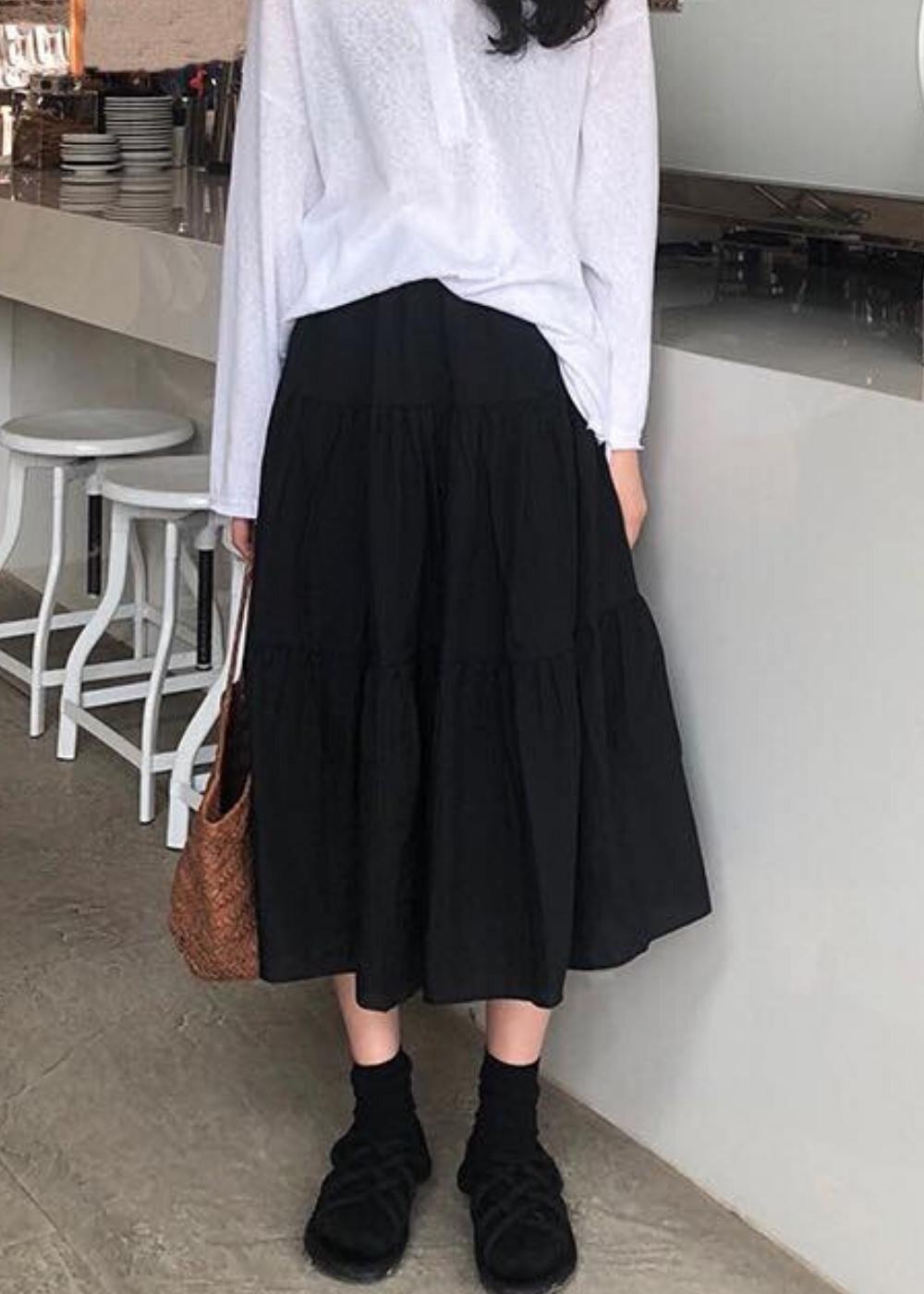 Chân váy xòe dáng dài chất đẹp, dễ thương 2 tầng cạp chun 4