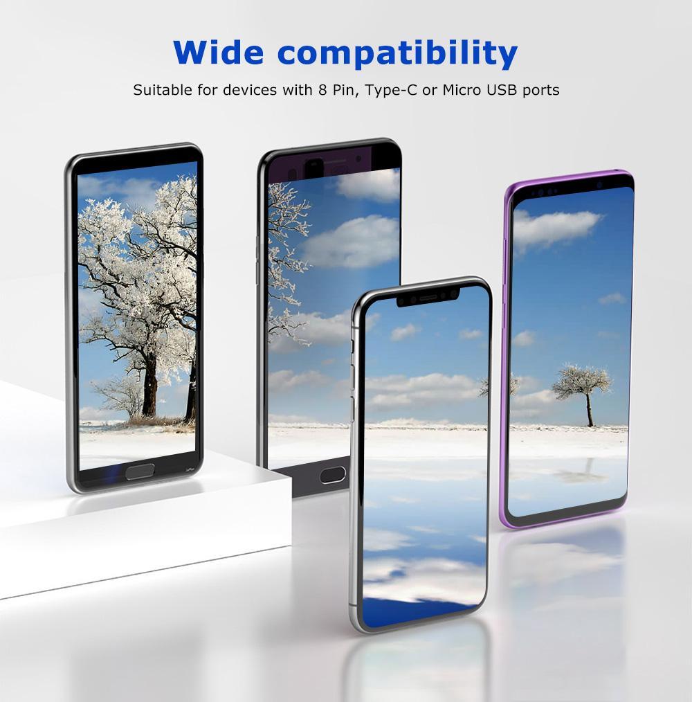 Cáp 4 trong 1 Baseus gồm 02 cổng lighnting dành cho iPhone/iPad và 01 cổng TypeC, 01 cổng Micro dành cho các dòng Samsung, LG, O