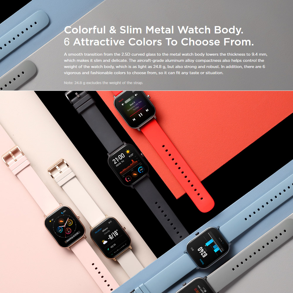 Global Version Amazfit GTS Smart Watch GPS 12 Sports Modes 5ATM Waterproof Swimming Smartwatch 14 Days Battery Music