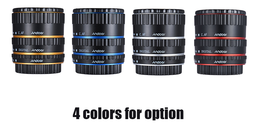 Andoer Colorful Metal TTL Auto Focus AF Macro Extension Tube Ring for Canon EOS EF EF-S 60D 7D 5D II 550D