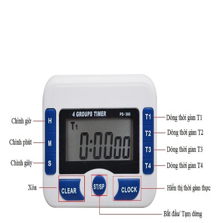 Đồng hồ đếm ngược 4 kênh, dùng pin cúc áo tặng kèm đèn 4 led dán tường , dán ô tô 5