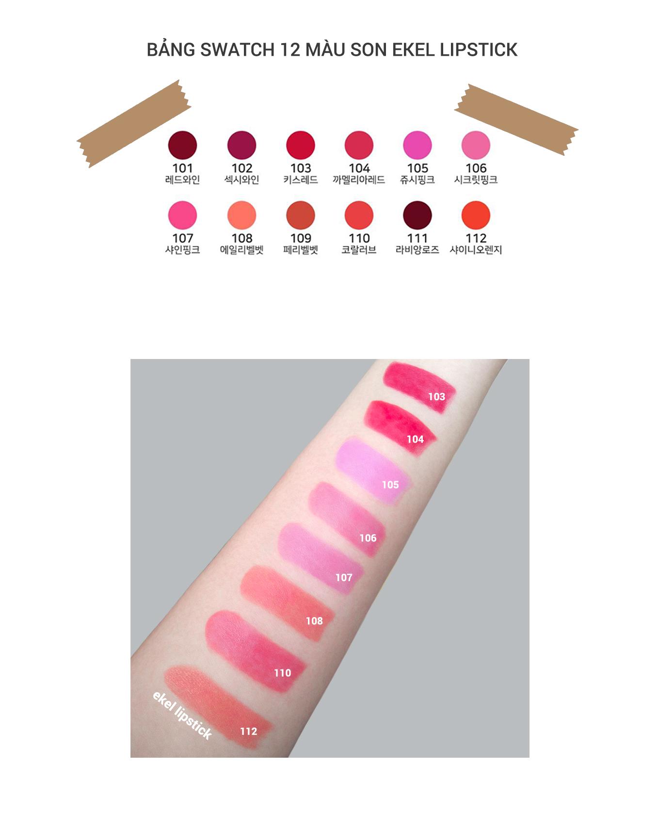 Son màu lì nhẹ môi coral love Ekel Professional Ample Essence Lip 110 3