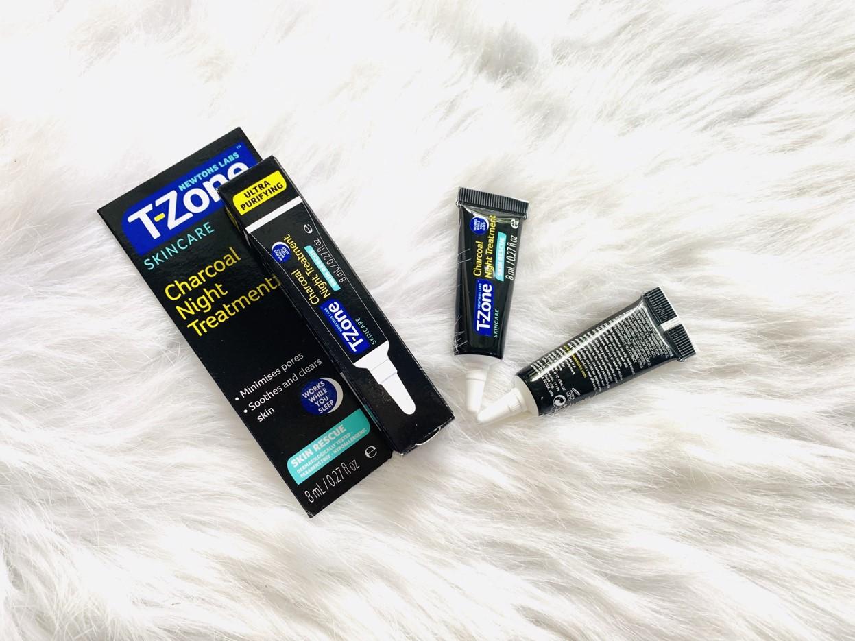 Gel Làm Dịu Da Mụn, Chống Thâm, Se Lỗ Chân Lông T-Zone Charcoal Night Treatment 8ml 2
