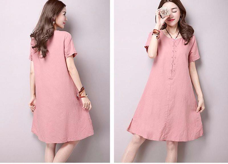 Đầm suông form rộng chữ A xẻ tà gấu LAHstore, thời trang phong cách Hàn Quốc 2
