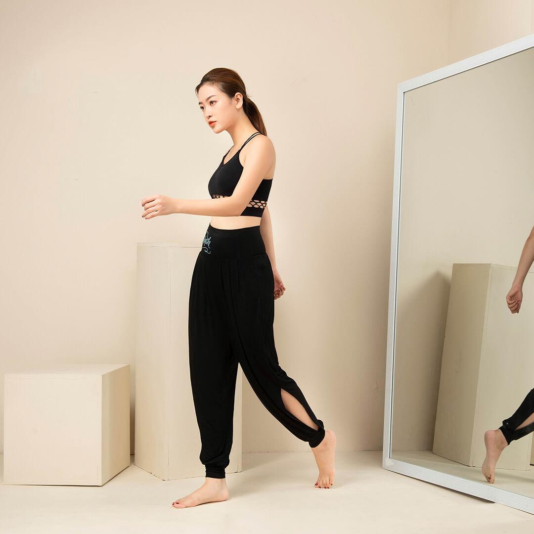 Quần tập Yoga ống rộng kết hợp với áo bra