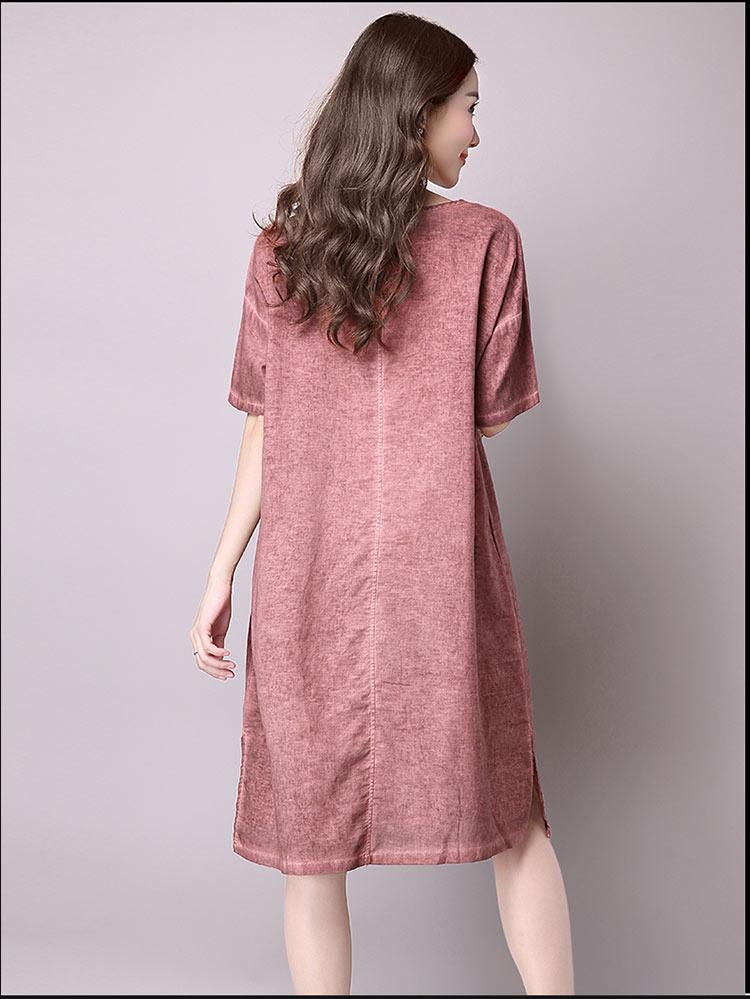 Đầm suông dạo phố chất thô họa tiết LAHstore, chất liệu vải bông mềm họa tiết độc dạo, thời trang Hàn Quốc - Xanh xám - XXL 7