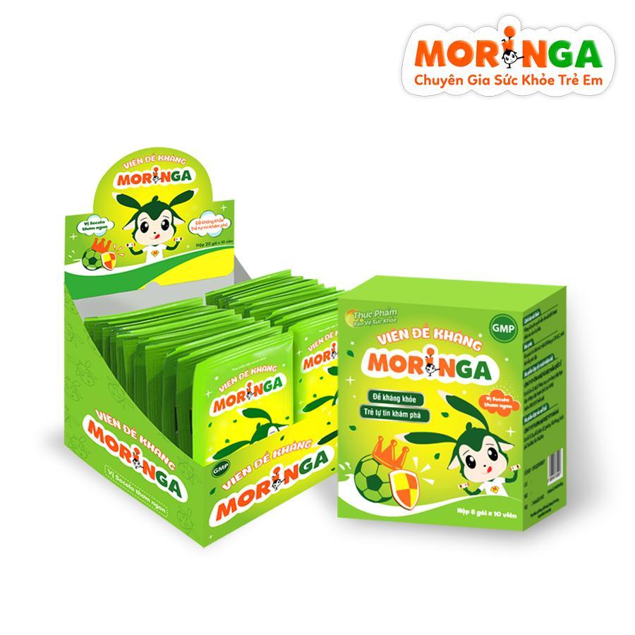 Viên đề kháng Moringa - Giúp tăng sức đề kháng, giảm nguy cơ mắc các bệnh đường hô hấp cho trẻ em - Hộp 8 gói 1