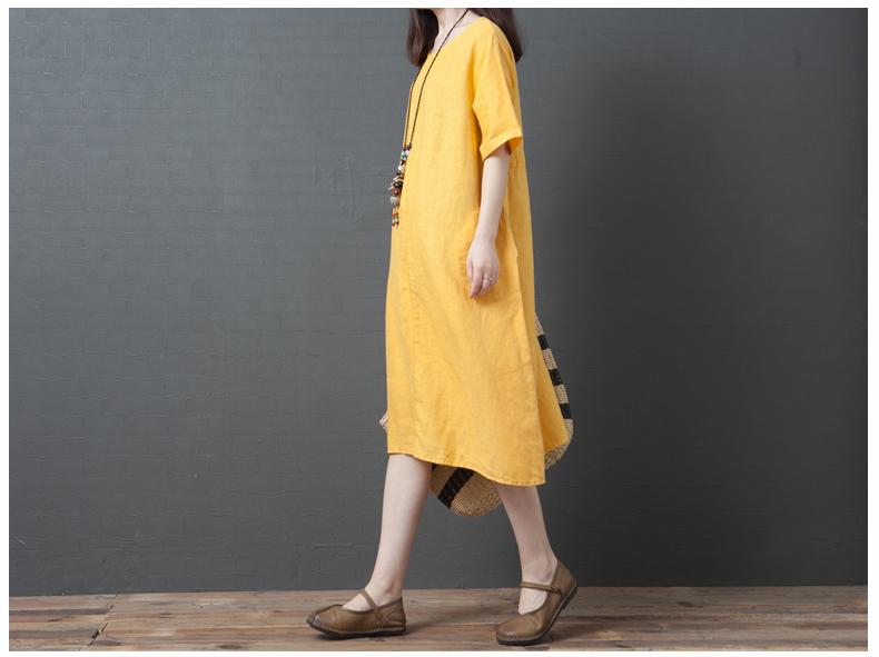 Đầm suông form rộng 2 túi sườn LAHstore, thích hợp mùa hè, thời trang trẻ, phong cách Hàn Quốc (Vàng) 5