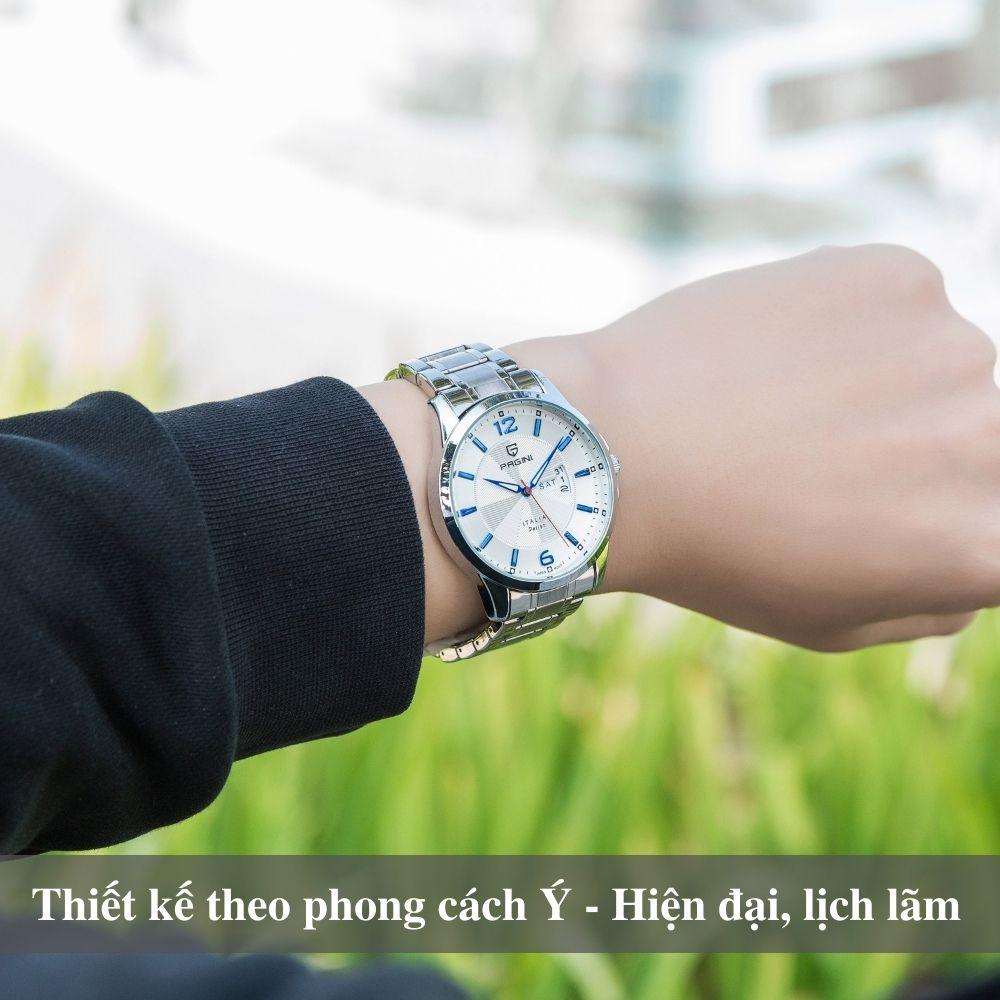 Đồng hồ nam PAGINI PA5533W dây thép không gỉ - Lịch ngày cao cấp 6
