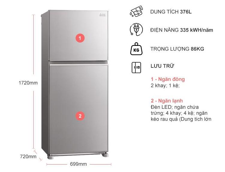 Tủ Lạnh Inverter Mitsubishi Electric MR-FX47EN-GSL (376L) - Hàng chính hãng