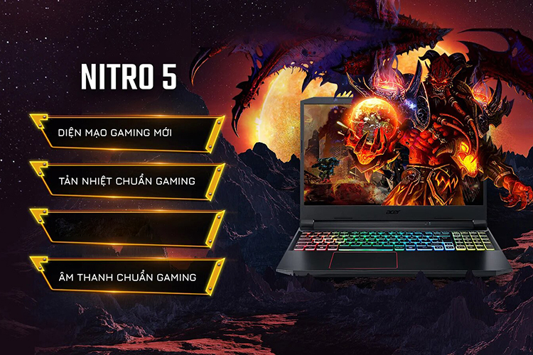 Laptop Acer Nitro 5 2020 AN515-55-5923 NH.Q7NSV.004 (Core i5-10300H/ 8GB DDR4 3200MHz/ 512GB SSD M.2 PCIE/ GTX 1650Ti 4GB GDDR6/ 15.6 FHD IPS, 144Hz/ Win10) - Hàng Chính Hãng