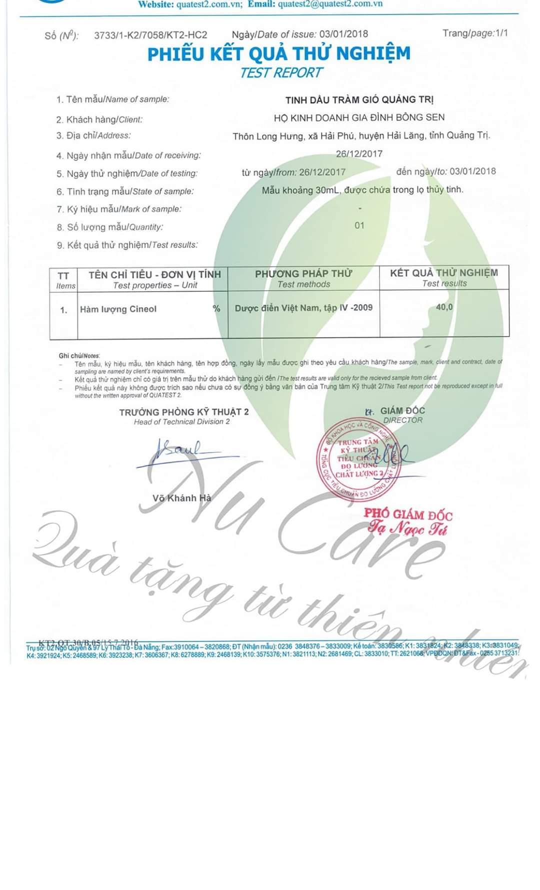 Tinh Dầu Tràm Ngâm Hoa Ném Nucare (Có phiếu kiểm định chất lượng) 2