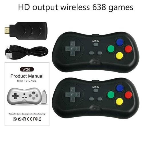 Máy Chơi Game 4K Điện Tử 4 Nút 638 Trò - Phiên Bản 2 Tay Cầm Chơi Game - Cắm Cổng HDMI - Kết Nối Không Dây (tặng chai dầu tràm hoa nén) Máy được giao theo màu ngẫu nhiên 5