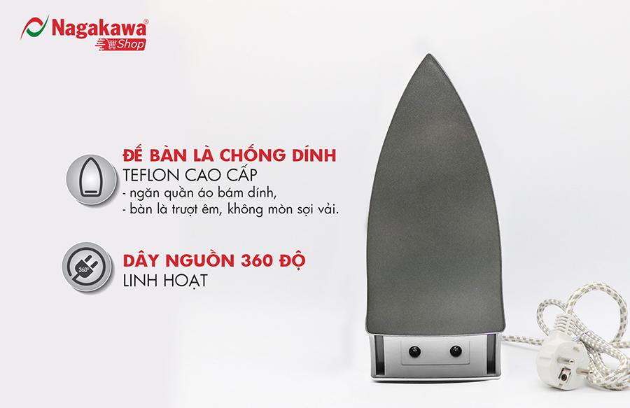 Bàn Ủi Khô Nagakawa NAG1502 - Màu Ghi - Hàng Chính Hãng